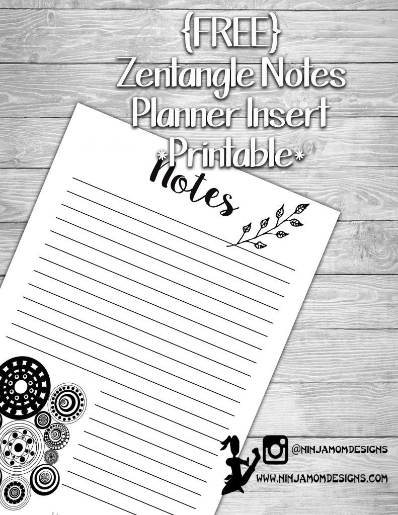FREE} Zentangle Notes Planner Insert Printable | Planners