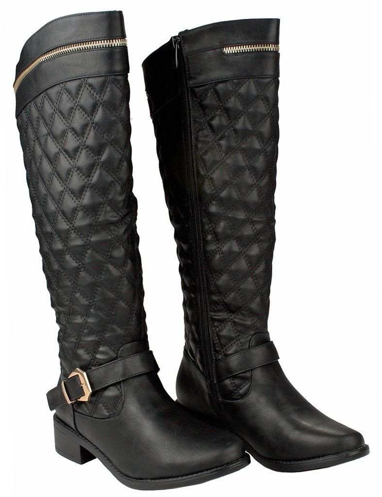 069e10500ec55 Women Greta15 Black FauxLeather Gold Decor Zip Buckle Strap Quilted Slanted Riding  Knee High Boots5.5 -- Click on the image for additional details.