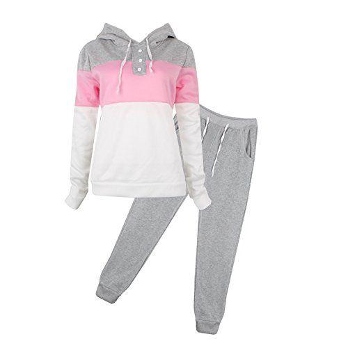 2Pcs Womens Tracksuit Set Long Sleeve Tops Pants Jogger Casual Sport Sweat Suit