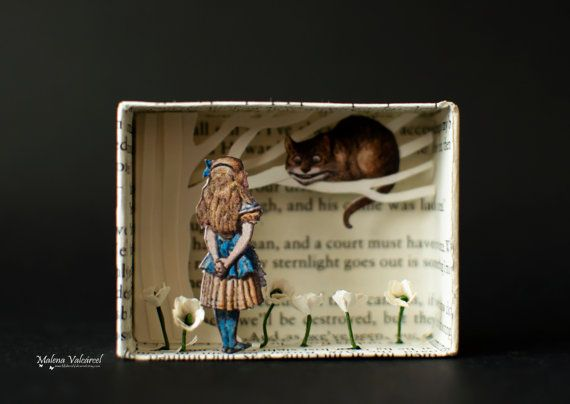Matchbox Art - Diorama - We Are All Mad Here - Alice in Wonderland #dioramaideas