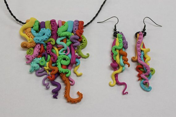 Octopus Tentacle Necklace and Earrings Set by SophieCLRguART, $150.00