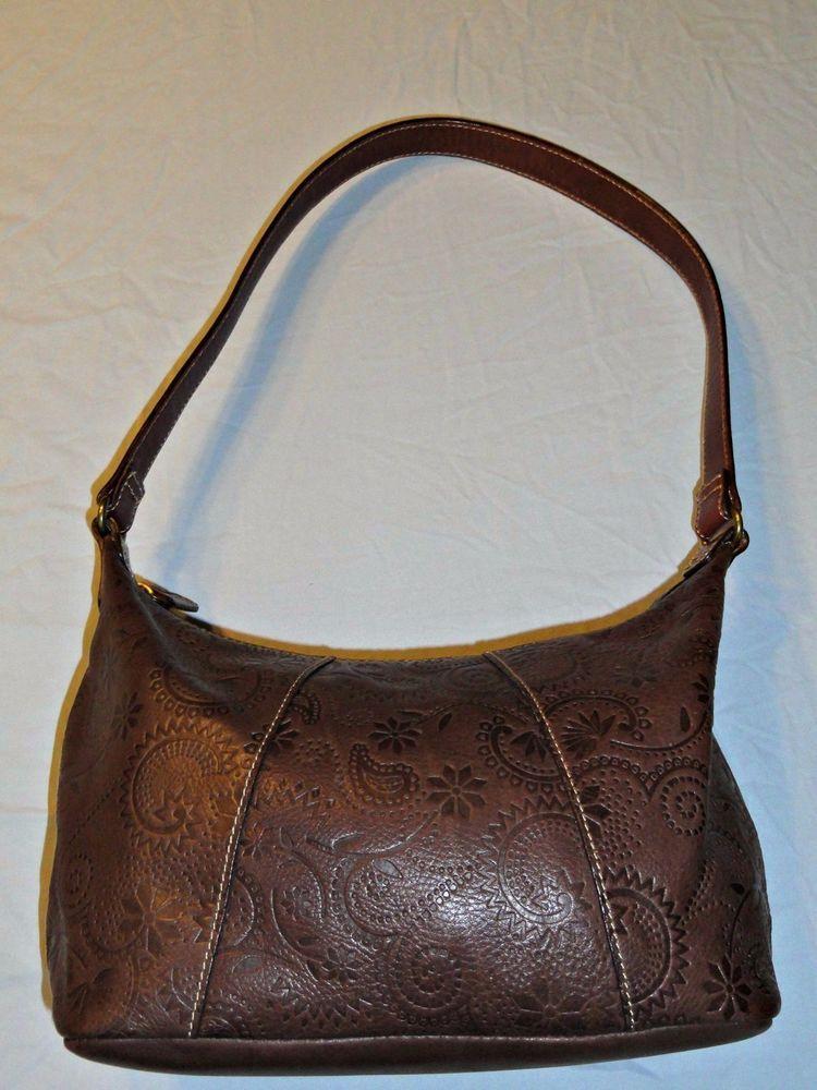 Fossil Brand Western Tooled Leather Hobo Handbag Embossed Fl Purse 75082