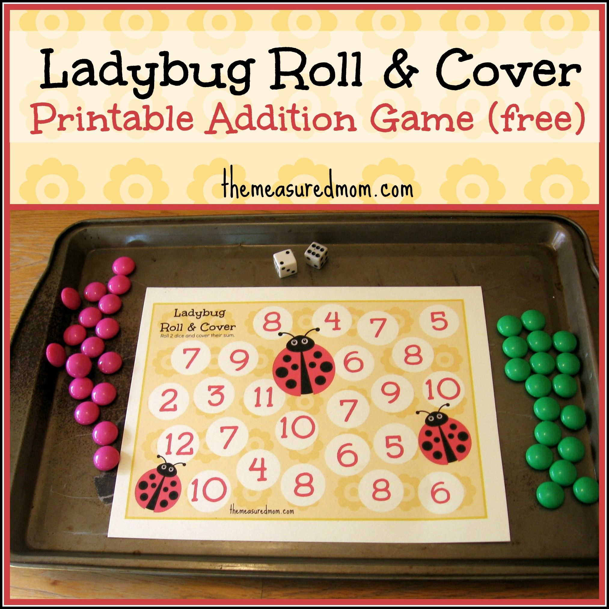 Printable Addition Game Ladybug Roll Amp Cover