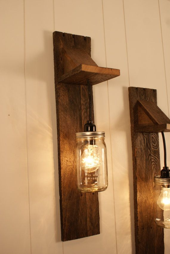 Pair of Reclaimed Wooden Mason Jar Chandelier Wall Mount Fixture is part of information-technology - This unique pair of mason jar light fixtures are handcrafted using reclaimed wood  Each piece of wood is inspected and hand selected for each fixture we create  The vintage hardwood mounts, lights in mason jars, and black cords will add a personal unique warmth and charm to any space  All wood is sealed for long lastin