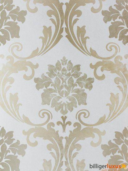 Barock Tapete creme silber-grau metallic Schlafzimmer - tapete schlafzimmer beige