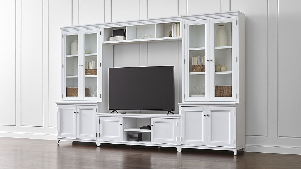 Incroyable Harrison 6 Pc White Entertainment Center/Glass Doors