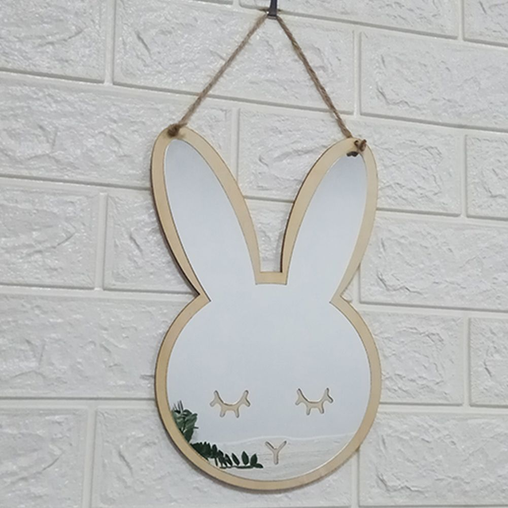 Hanging Small Cartoon Wooden Wall Decorative Mirror Home Acrylic Cute