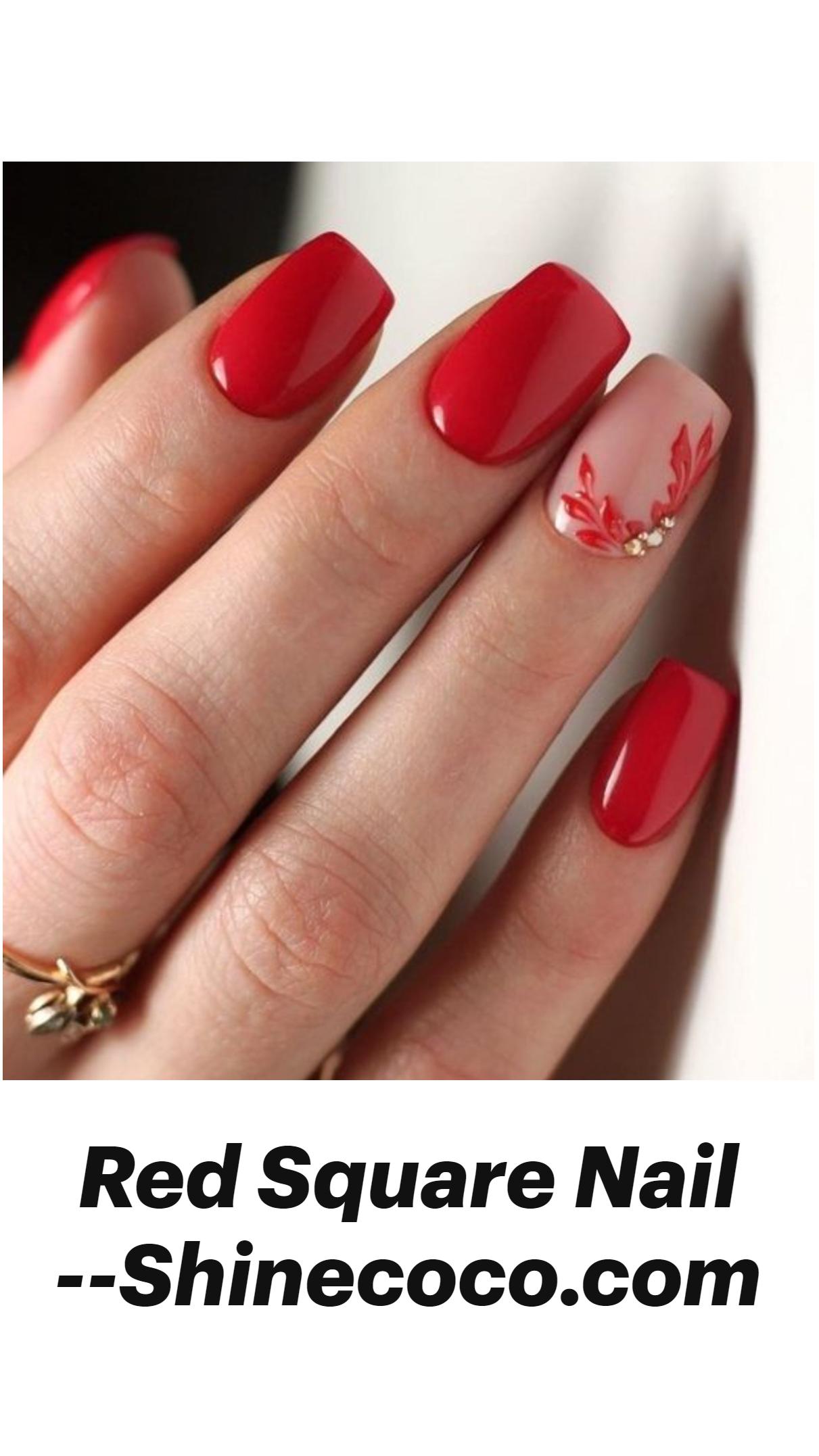 Red Square Nail --Shinecoco.com