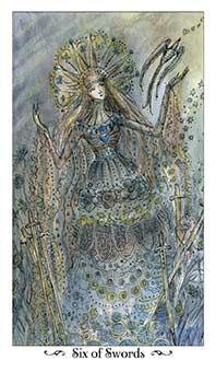 Six of Swords Tarot Card - Paulina Tarot Deck