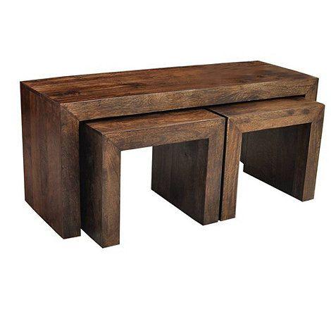 Debenhams Mango Wood Nest Of 3 Coffee Tables