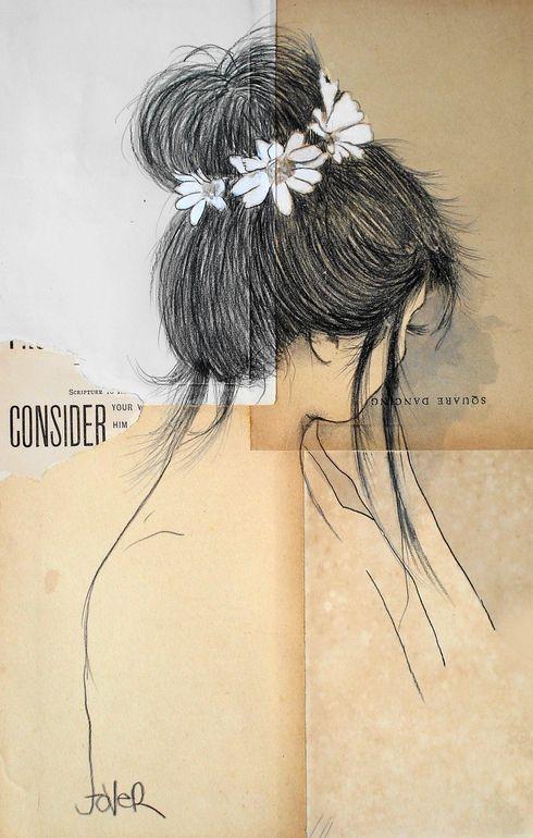 "Saatchi Online Artist: Loui Jover; Conté, 2013, Drawing ""daisy (SOLD)"""