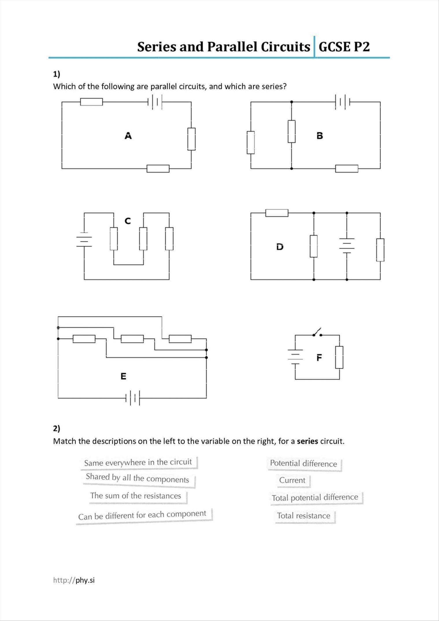 Inspirational Circuits and Symbols Worksheet