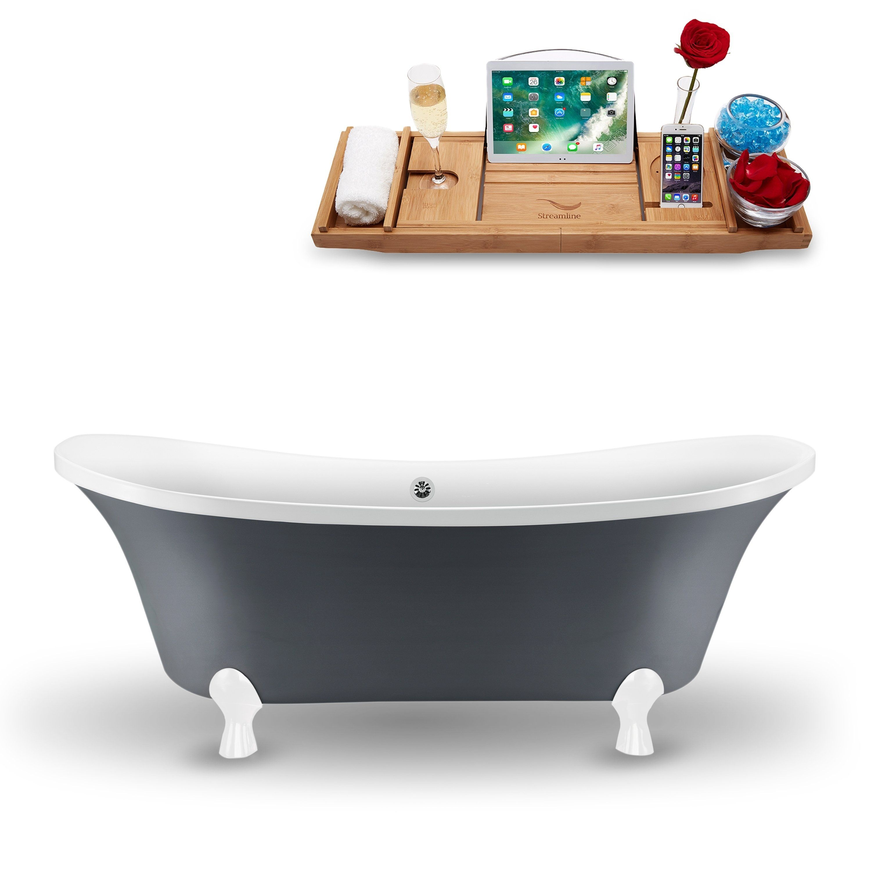 68 Streamline Clawfoot Tub And Tray With External Drain Gray