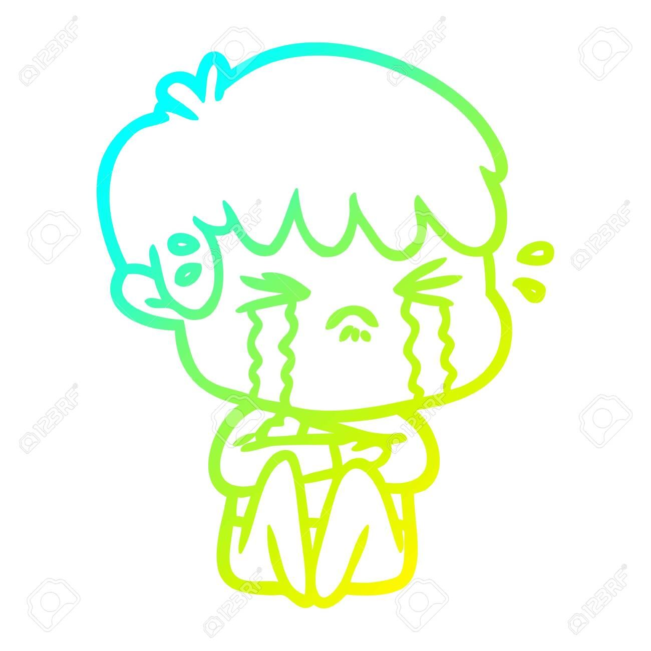 Cold Gradient Line Drawing Of A Cartoon Boy Crying Spon Line