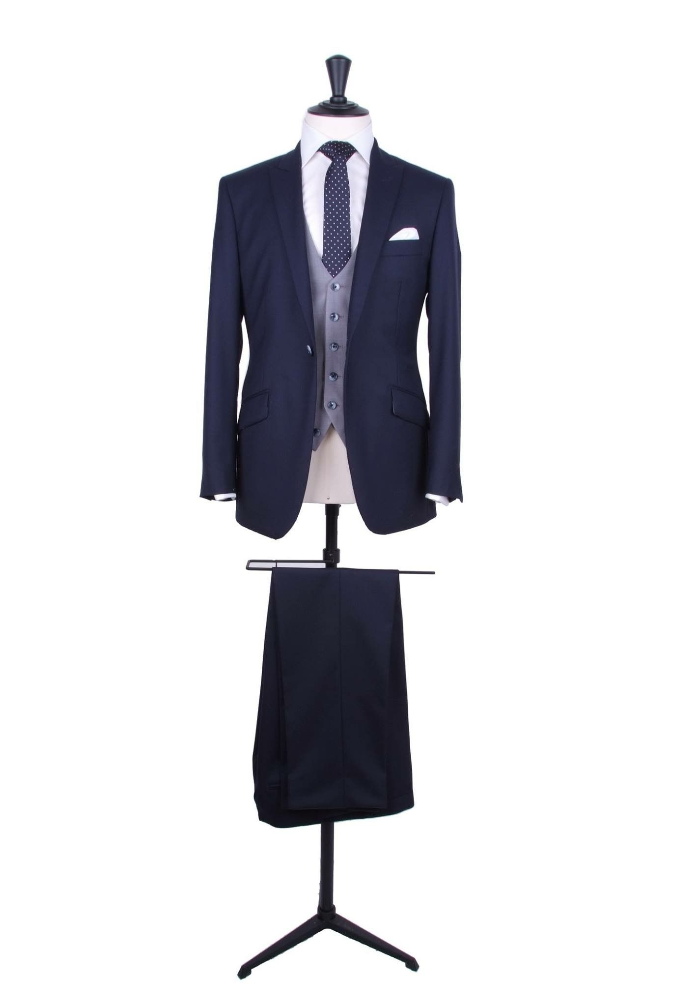 Navy Made To Measure Suit With Contrasting Single Breasted Grey Waistcoat With Navy And White Spot Tie And White Handkerchief Costume Mariage Costume Mariage
