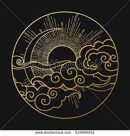 Sun And Moon In The Cloudy Sky Decorative Graphic Design Element Vector Illust Grafik Grafik Design