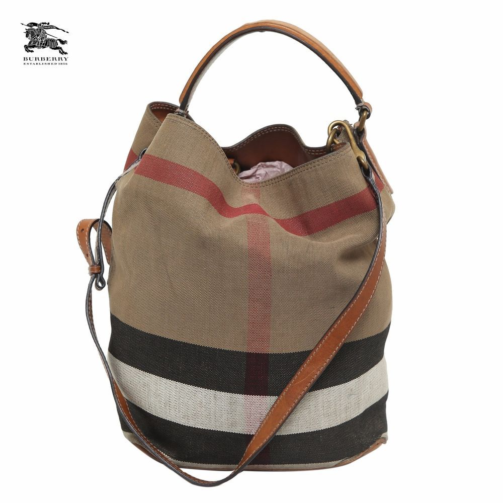 d4cfe0ae0986 Burberry Brit  Susanna  Check Print Bucket Bag Brown Leather Trim Handbag  Sale  Burberry  BucketBag