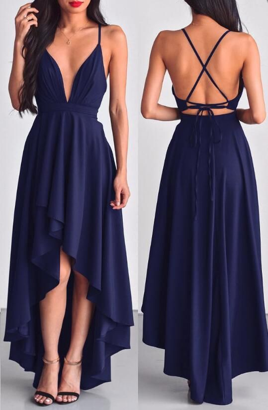Sexy A-line Deep V-neck High Low Dark Navy Blue Chiffon Prom Dress Evening Dress from modsele #bluepromdresses