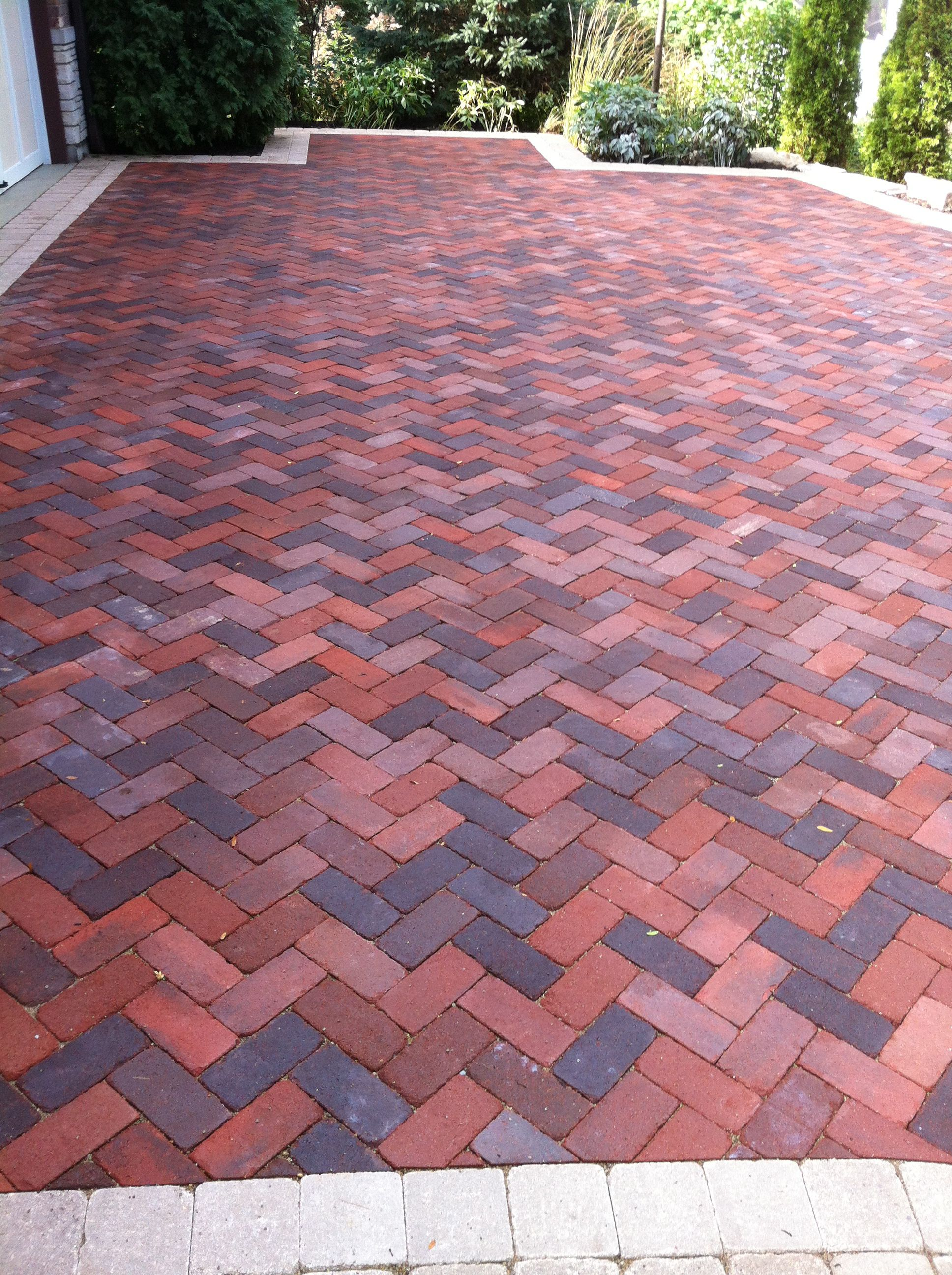 Charming Brick Herringbone Pattern For Patio/driveway.