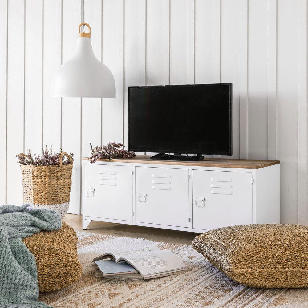 Meuble Tv Indus En Metal Blanc Et Sapin En 2019 Meja Tv