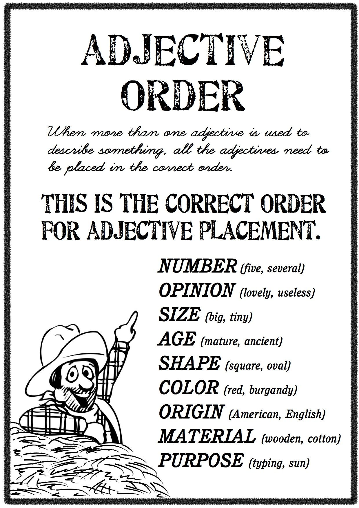 The correct order adjective order is number, opinion, size