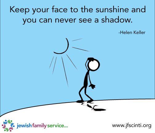 Inspiration quote, inspiration, quote, Helen Keller, sunshine, shadow