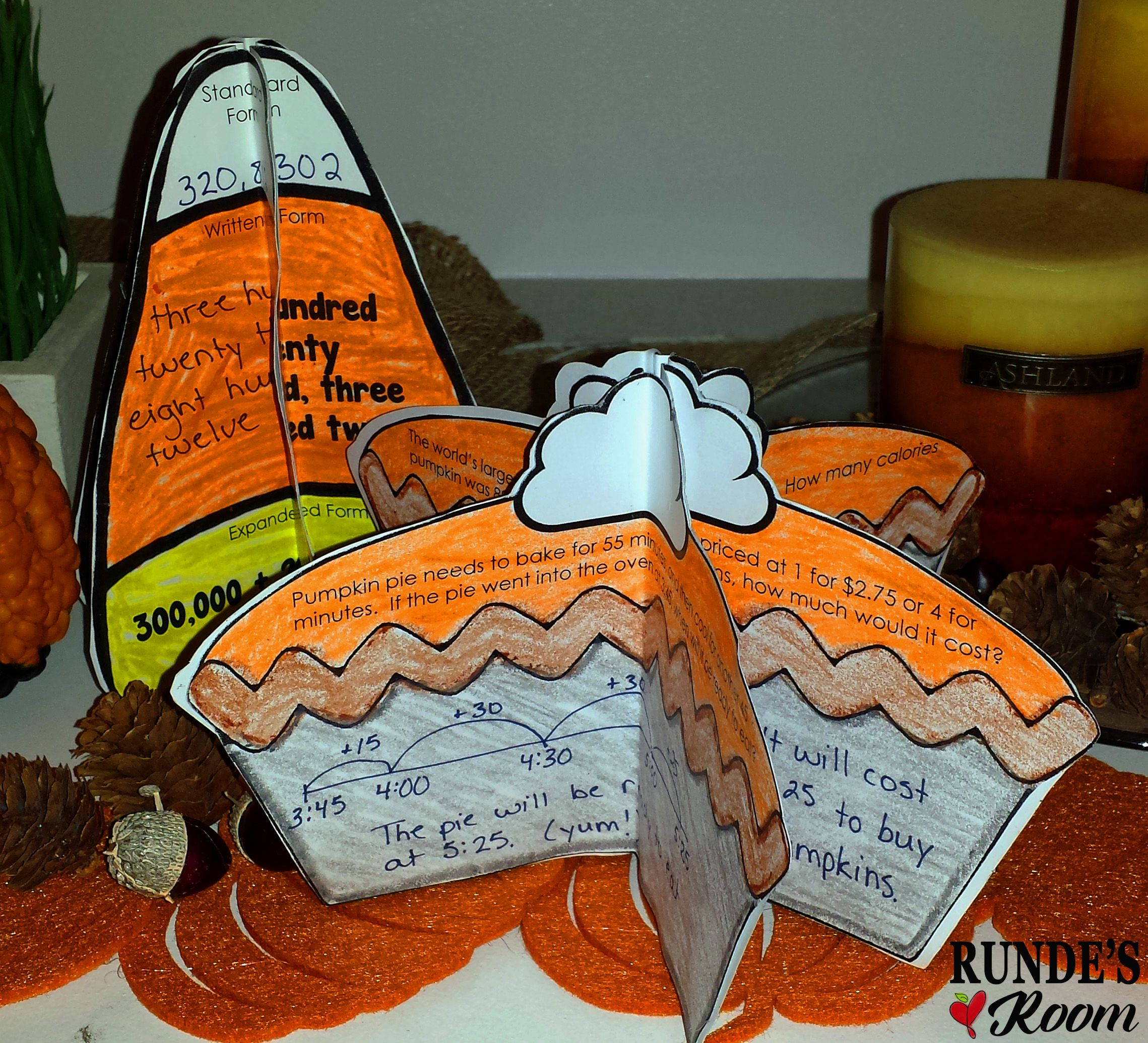 Fall math craftivity bundle - PERFECT for your fall math centers - Place Value Candy Corn and Pumpkin Pie Word Problems.