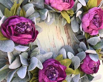 Photo of Peasant wreath Magnolia wreath Magnolia lambs Ear wreath front door Wreath spring wreaths for front door