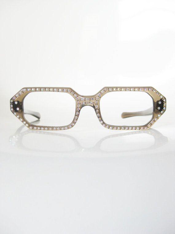 a40f082969ff Vintage 1950s Eyeglasses Rhinestone French Frames Glasses Optical ...