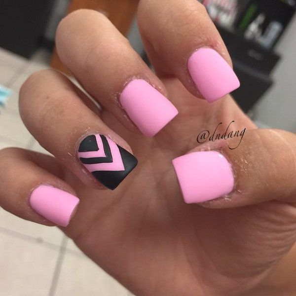 50 Pink Nail Art Designs | Black nail polish, Black nails and Pink nails