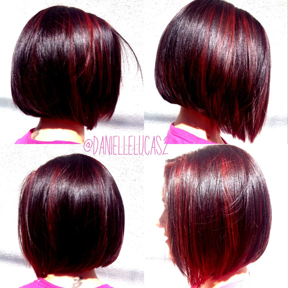 Aline Bob Dark Cherry With Red Maroon Highlights Hair Styles Short Hair Color Brunette Hair Color