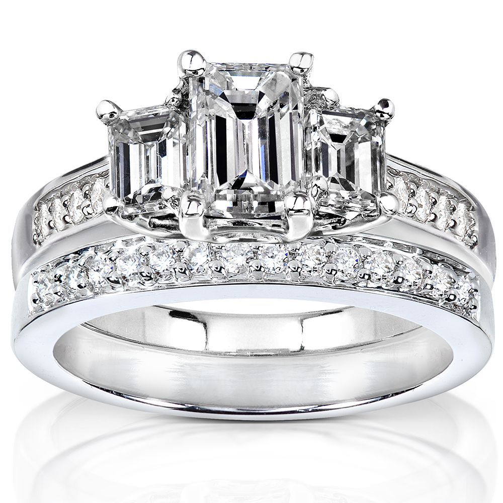 Emerald-cut diamond bridal ring set14-karat white gold jewelry Click here for ring sizing guide