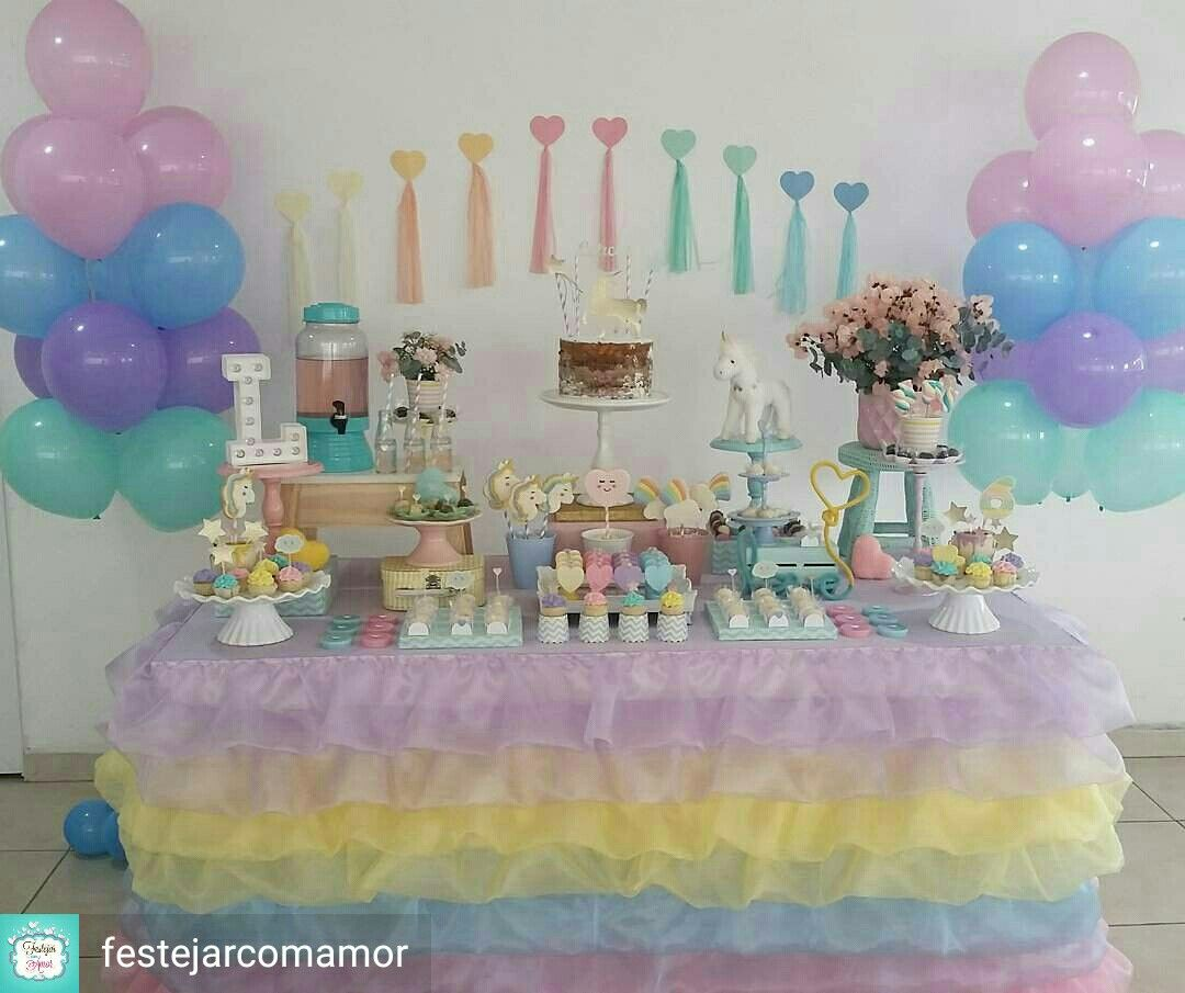 Party Background Ideas Unicorn Birthday Anniversary Parties Rainbows Themes Kids Part Butterflies