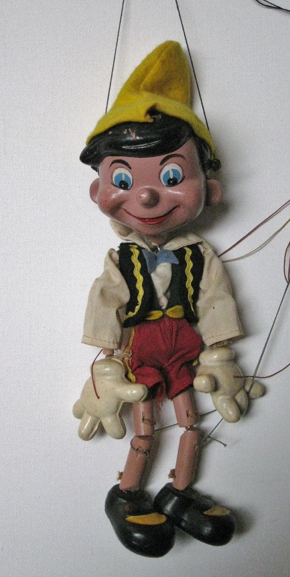 Vintage Pinocchio Marionette Puppet Composition with ...