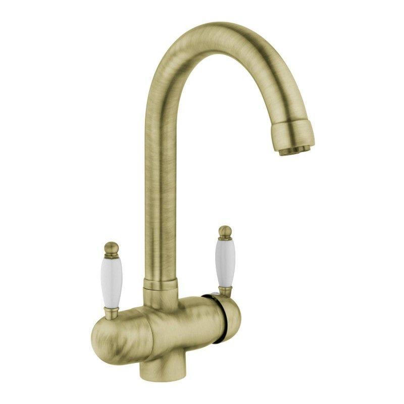3-Wege-Wasserhahn CREA TIVO, Bronze gebürstet Küchenschränke - küchenarmatur niederdruck edelstahl