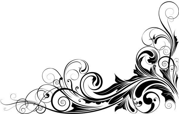 black floral corner ornaments vector https www. Black Bedroom Furniture Sets. Home Design Ideas