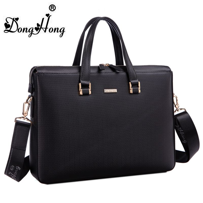 DongHong Men Briefcase luxury designer authentic leather handbag ...