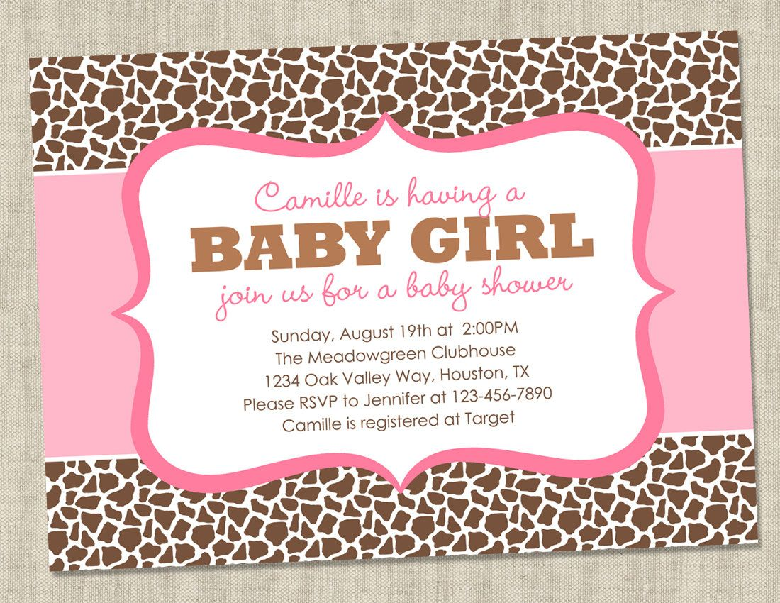 Leopard or Giraffe Baby Shower Invitation - pink animal pattern ...