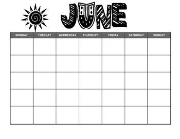 A Blank Calendar Template For Your Classroom Newsletter The June