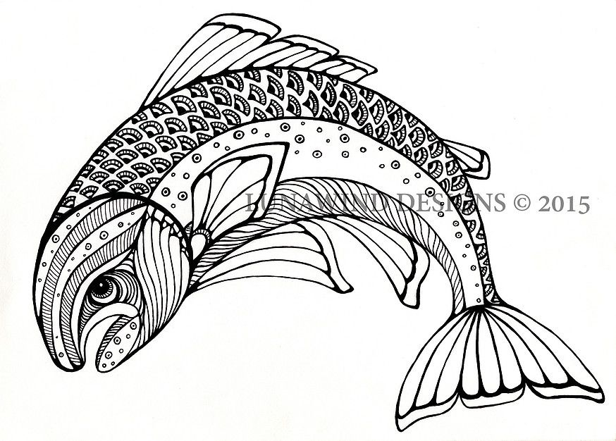 trout fish fishing lunawind adult coloring book drawing pen and ...