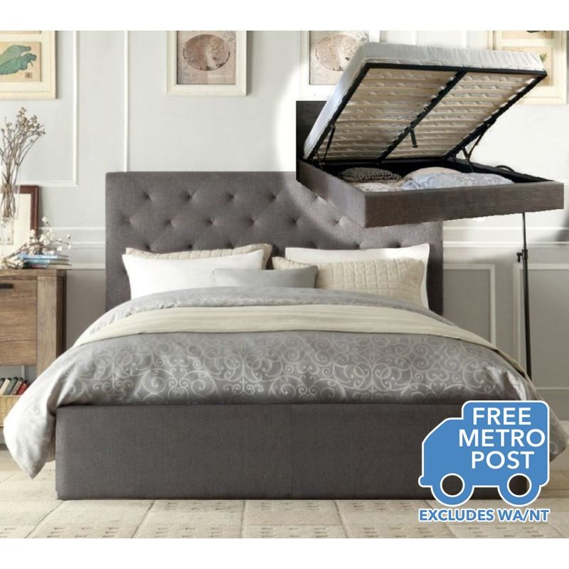 Chester King Bed Frame in Grey Fabric with Gas Lift | Buy New ...