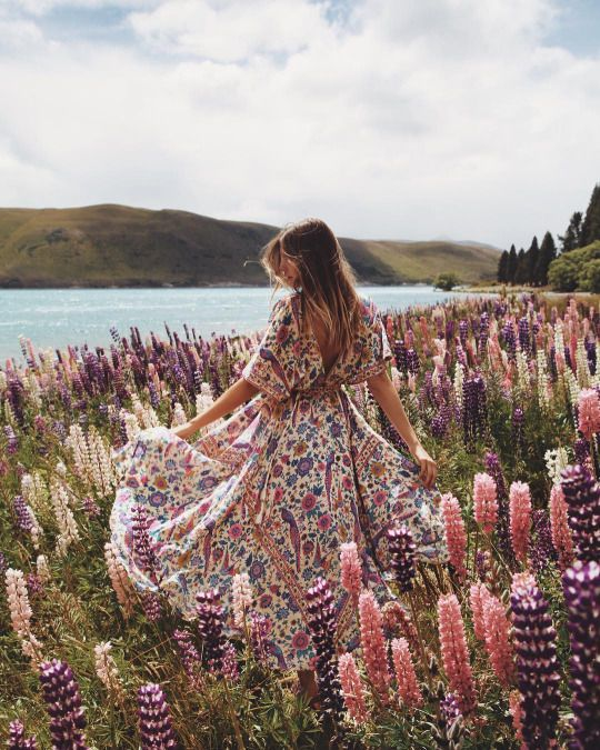 Dress Boho Pink Flowers Field Boho Boho Fashion Dresses