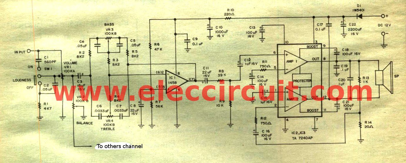 19W stereo integrated amplifier IC-TA7240AP - ElecCircuit
