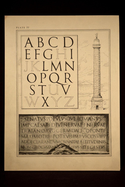 Lettering Print Roman Letters Ephemera Lettering Wall Art ...