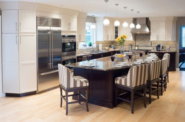 big-kitchen-design | long kitchen, table seating and kitchens