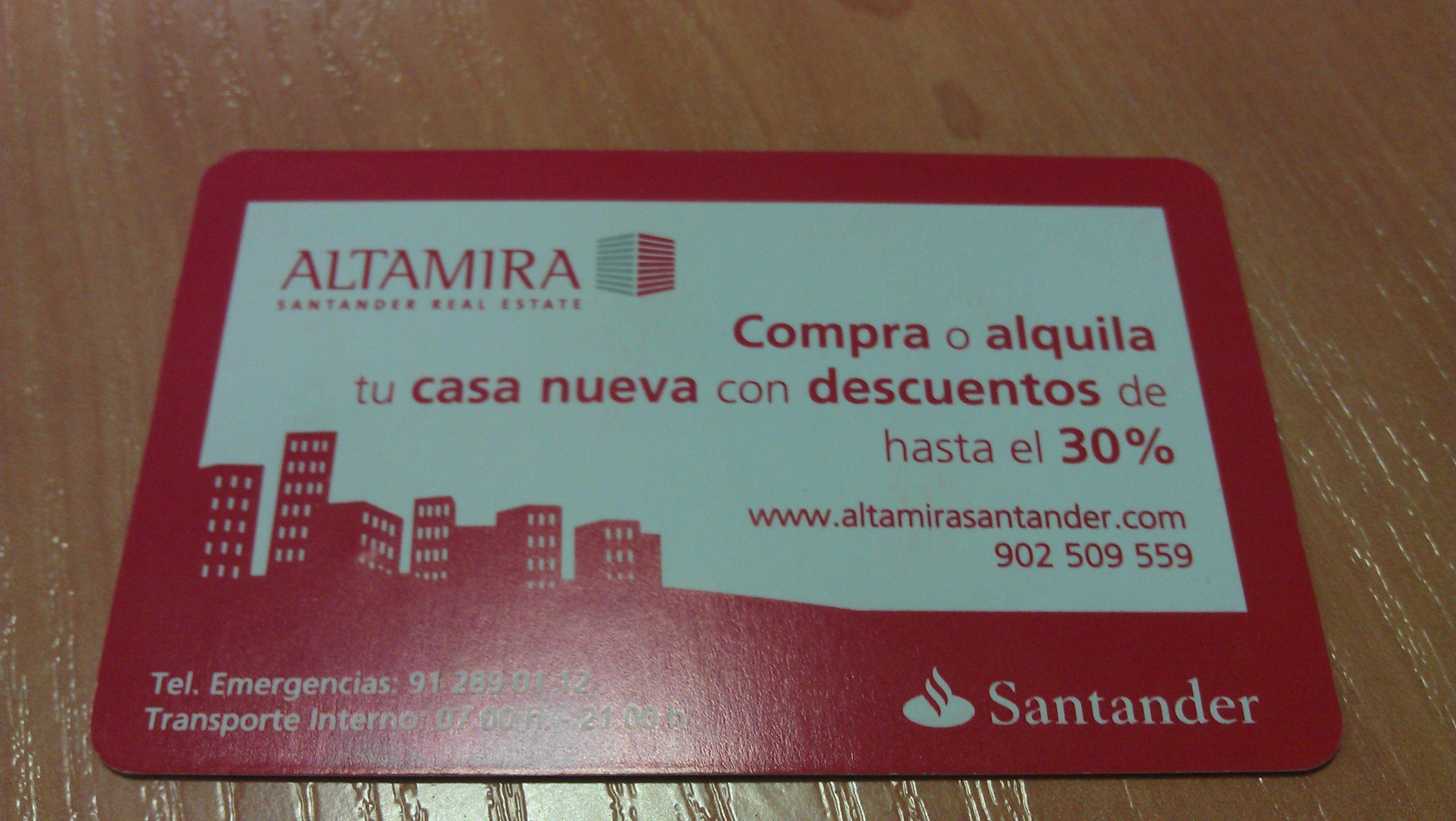 Tarjeta De Visitante Con Reclamo De Altamira Santander Tarjeta Compras Alquiler
