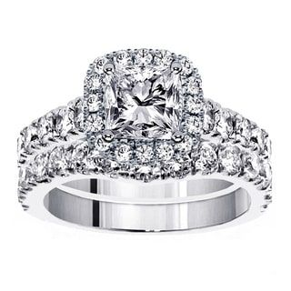 Platinum 3 1 3ct TDW Diamond Halo Bridal Ring Set