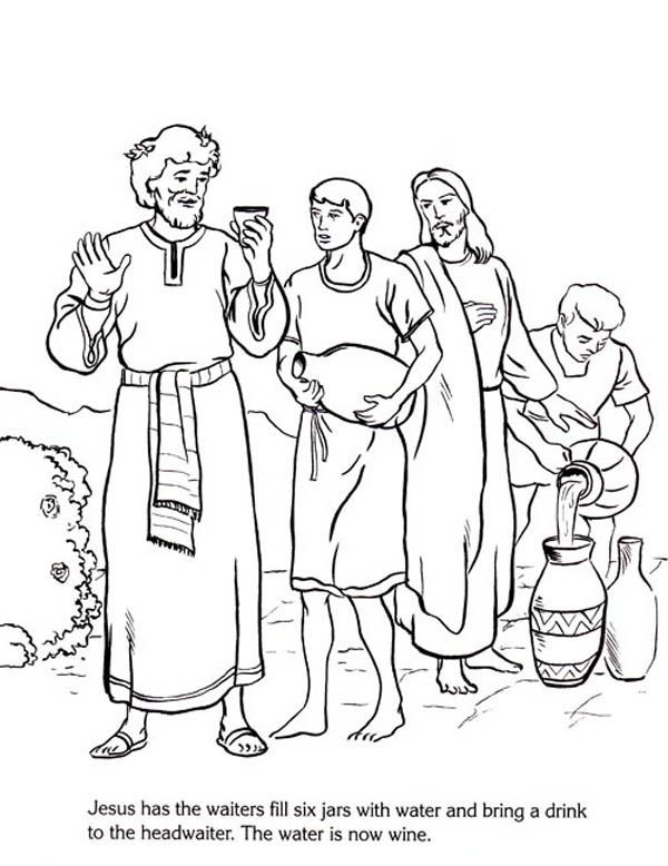 Jesus Turn Six Jars Of Water Into Wine In Miracles Of Jesus Coloring Page Jpg 600 778 Jesus Coloring Pages Coloring Pages Elmo Coloring Pages