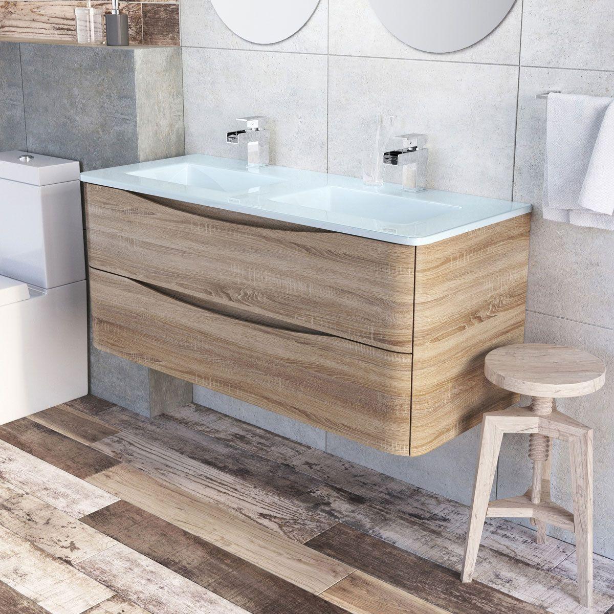 Eaton Light Ash Bathroom Wall Hung Vanity Unit White Glass Basin