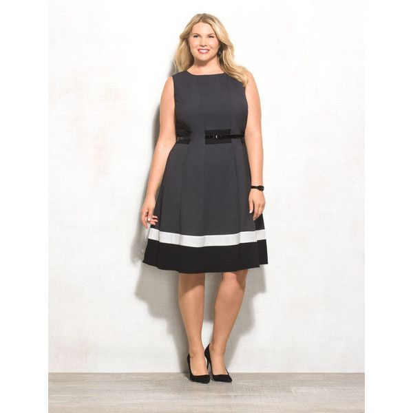 Plus Size Belted Colorblock Dress 70 Liked On Polyvore